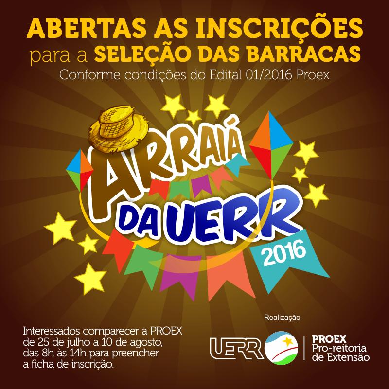 Arte Arraiá da UERR 2016 Inscrições ABERTAS